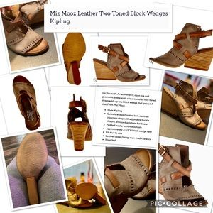 Leather two-toned block heel wedges